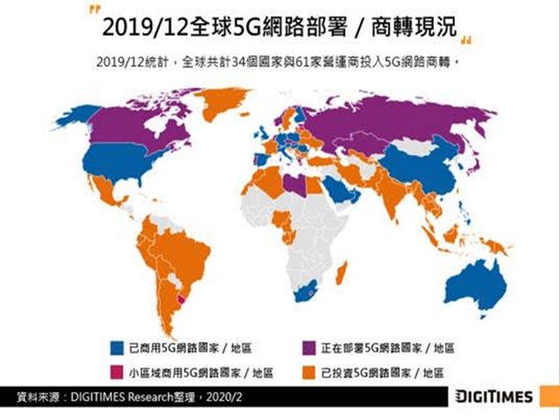 DIGITIMES Research:武漢肺炎疫情打亂中國5G發展步調 然2020年資本支出仍維持小幅增長。(DIGITIMES Research提供)