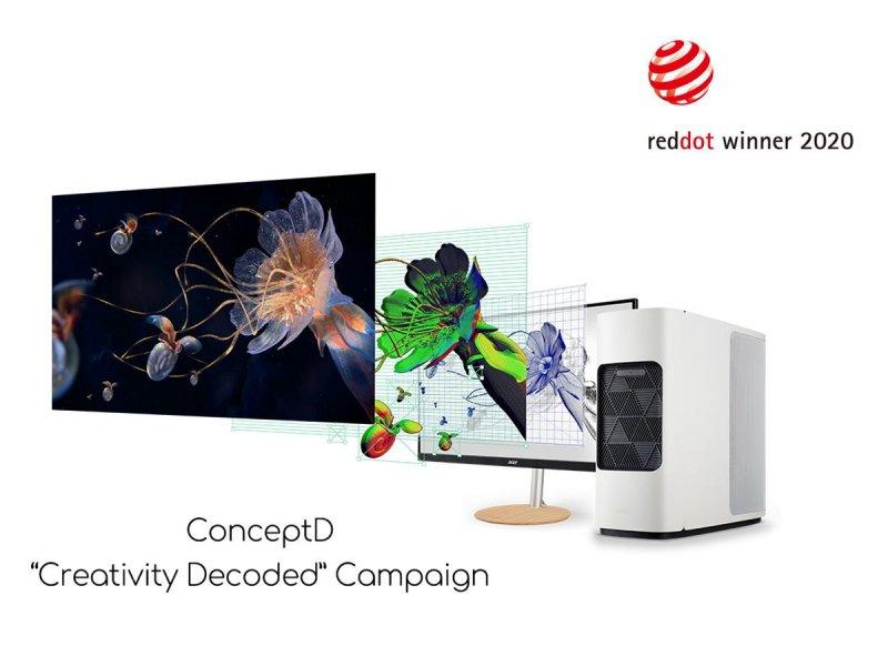 宏碁創作者品牌ConceptD榮獲兩項紅點品牌與傳達設計大獎。(宏碁提供)