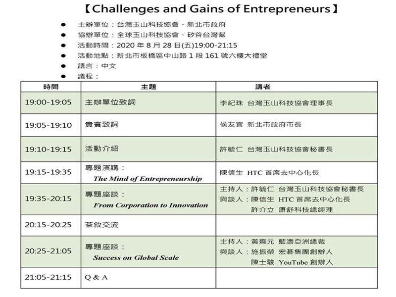 台灣玉山科技協會、新北市政府及矽谷台灣幫聯手重磅出擊!8/28舉辦「企業家的挑戰與收穫」論壇。(廠商提供)