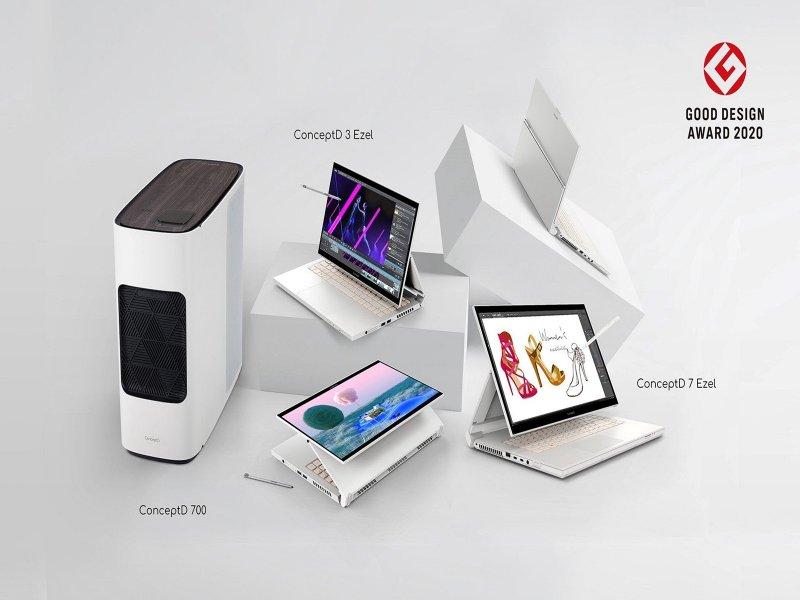 宏碁專為創作者而生ConceptD系列 榮獲兩項2020年度Good Design設計大獎。(宏碁提供)