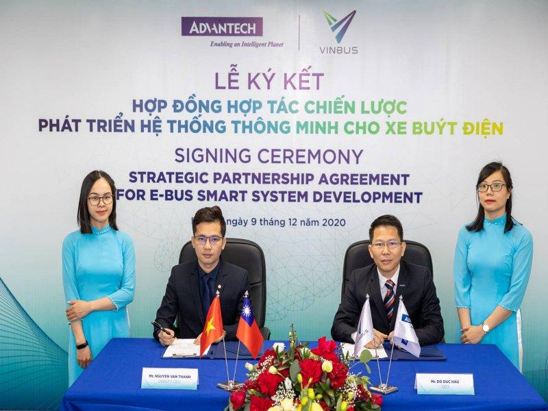 研華攜手越南最大集團VinGroup策略合作 與旗下VinBus簽約共同開發智慧電動巴士管理系統。(研華提供)