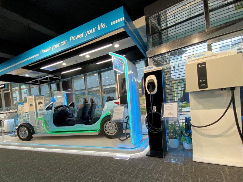 台達電動車充電樁進駐北基國際全台57座加油站。(台達提供)