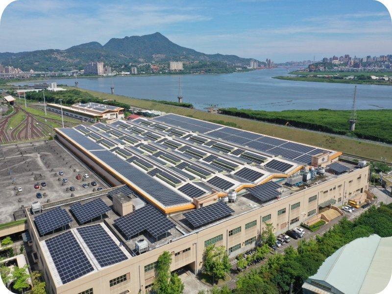 大同集團再獲北捷機廠太陽能標案,圖為台北捷運蘆洲機廠太陽光電電廠。(大同提供)